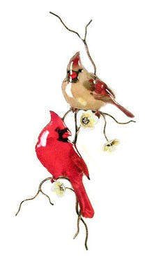 Male & Female Cardinals on Flower Branch