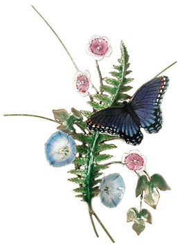 Red Spotted Purple Butterfly, Fern & Morning Glory