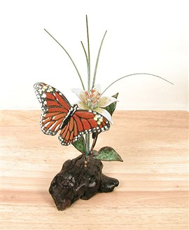 Monarch Butterfly and Turks Cap Lily on Manzanita