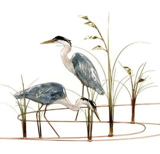 Two Blue Herons with Brass Sea Oats
