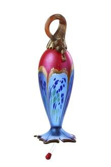 Hummingbird Feeder Red Top and Light Cobalt Blue