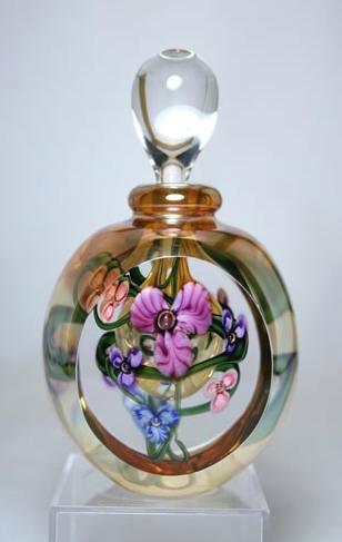 Roger Gandelman Luster Purple Stripe Floral Perfume Bottle