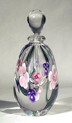 Roger Gandelman Pink Flower Tall Perfume Bottle