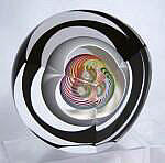 Triple Cut Striped Bubble Paperweight