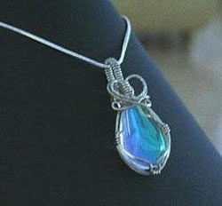 Wire Wrapped Oval Pendant Blue Aqua