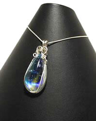 Wire Wrapped Oval Pendant Royal Blue