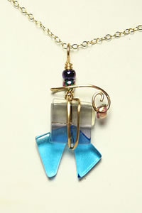 Fused Glass and Wire Pendant II