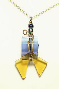 Fused Glass and Wire Pendant IV