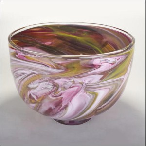 Large Marble Bowl Pink and Yellow