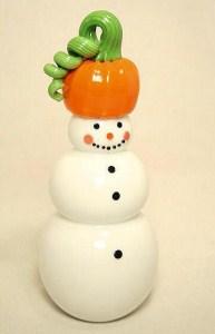 Pumpkin Snowman Paperweight