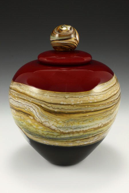 Covered Puffy Jar Ruby with Ball Finial