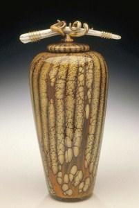 Batik Covered Jar with Bone and Tendril Finial