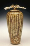 Batik Covered Jar with Bone and Tendril Finial