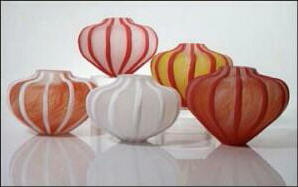 Etched Sea Urchin Vessels Red