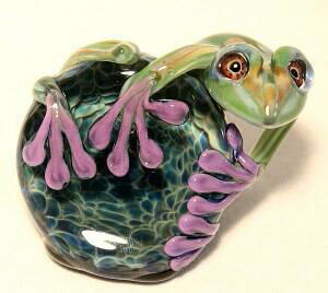 Green Frog on Cut Geode