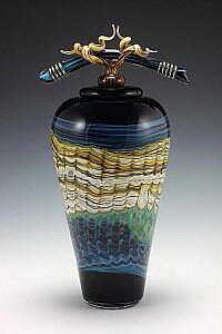 Black Sargasso Covered Jar with Bone & Tendril Finial