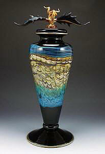 Black Sargasso Turquoise Footed Vessel & Avian Finial