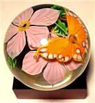 Butterfly Paperweight Pink Flowers