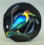 Green Heron Fused Glass Bowl