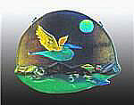 Night Heron Glass Wall Hanging