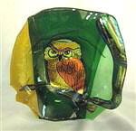 Owl In Tree Glass Bowl