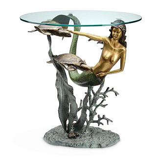 Mermaid and Sea Turtle End Table