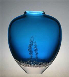 Flat Closed Mouth Vase Aqua
