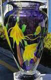 Violet Yellow Flower Vase