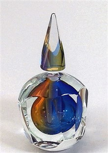 Multifaceted Jewel Tone Perfume Bottle Sunset
