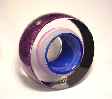 Strata Sculpture Paperweight Purple