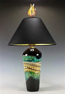 Table Lamp Black Opal Turquoise