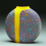 Purple Cascade Vase with Opal Yellow Interior