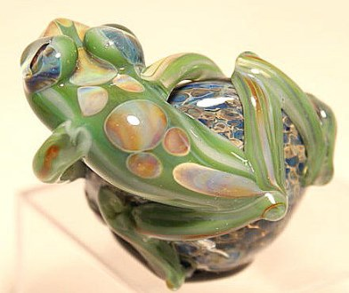Reverse View Green Frog on Geode
