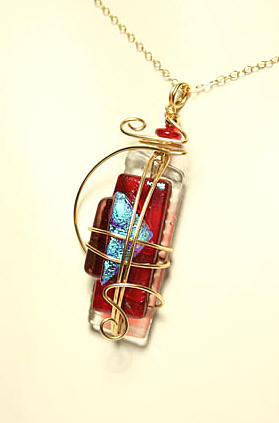 Antique Style Fused Glass Pendant by Meko Designs