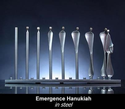 Emergence Hanukah Menorah by Sculptor Boris Kramer - Steel