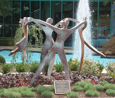 Bronze Sculpture by Boris Kramer - Dancing Family w/Two Children