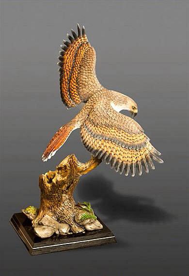 Bronze Sculpture Red Tail Hawk By Sculptor Barry Stein