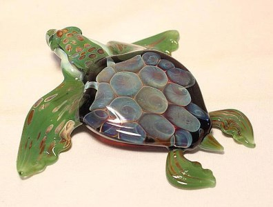 GlassMaster Tim Lindemann Green Sea Turtle Sculpture
