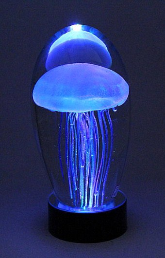 Jellyfish Sculpture Blue Lit with Multicolor LED