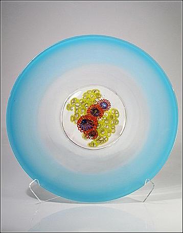 Sea Fan Platter Blue by GlassMaster David Leppla