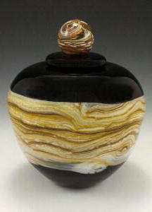 Puffy Jar with Ball Finial Black