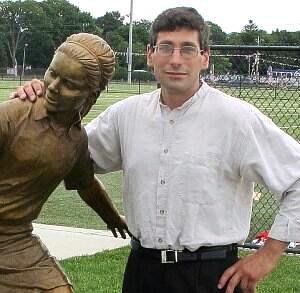 Michael Alfano with his Bronze Sculpture Briana