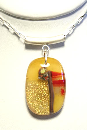 Flower Pendant Amber by Auradror at Art Glass by Gary Gallery