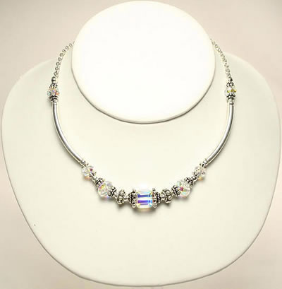 Swavorski Necklace Sapphire Crystals by Designer Naomi Johnson