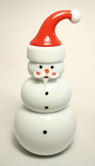 Santa Snowman Paperweight Sculpture by Thomas P. Kelley - Vitrix