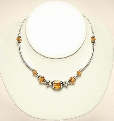 Swavorski Necklace Topaz by Designer naomi Johnson