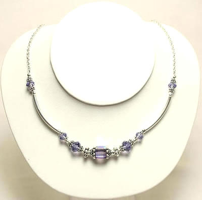 Swarvoski Necklace Amethyst by Designer Naomi Johnson