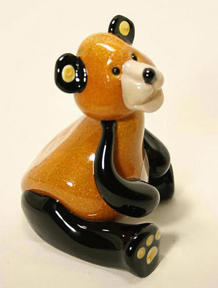 Brown and Black Plush Country Bear by GlassMaster Stuart Abelman